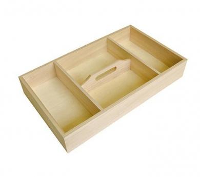 Caja de madera con 4 compartimentos