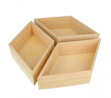 3 bandejas de madera diamente