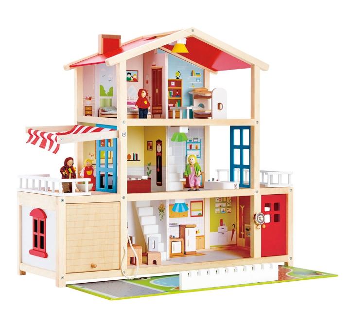 casita de muñecas de madera con luz y parking