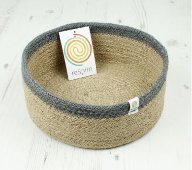 Cistell de jute i herba marina 15 cm.