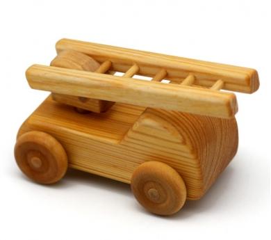 Camió de bombers petit de fusta