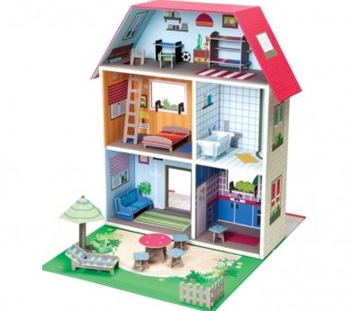 Casa de muñecas de cartón con muebles