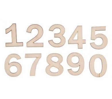 Números pequeños de madera