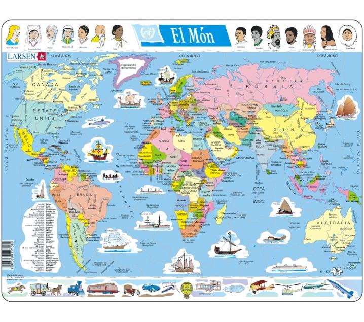 Mapa puzzle del mundo – división política
