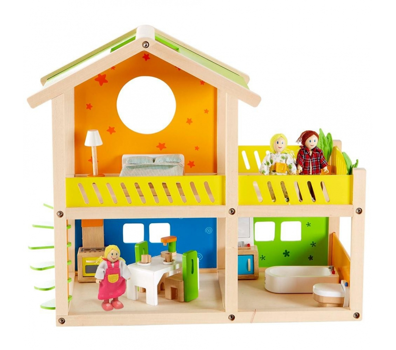 Casita de munecas de madera con muebles - Muebles casas munecas ...