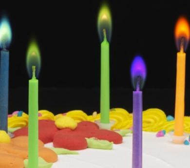 Velas con llama de colores
