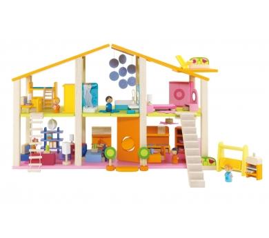 Gran casa de muñecas con muebles