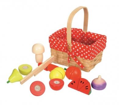 Frutas para cortar en cesto