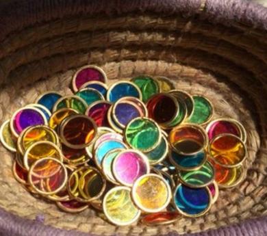 100 Discs de colors amb cèrcol metàl·lic