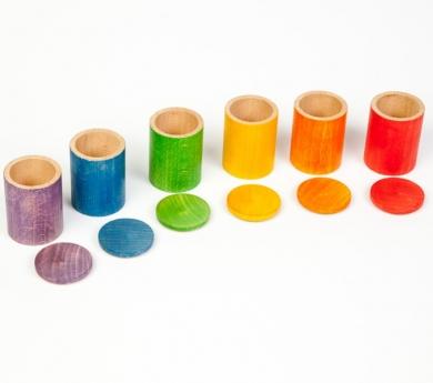 6 cubiletes arco iris con tapa