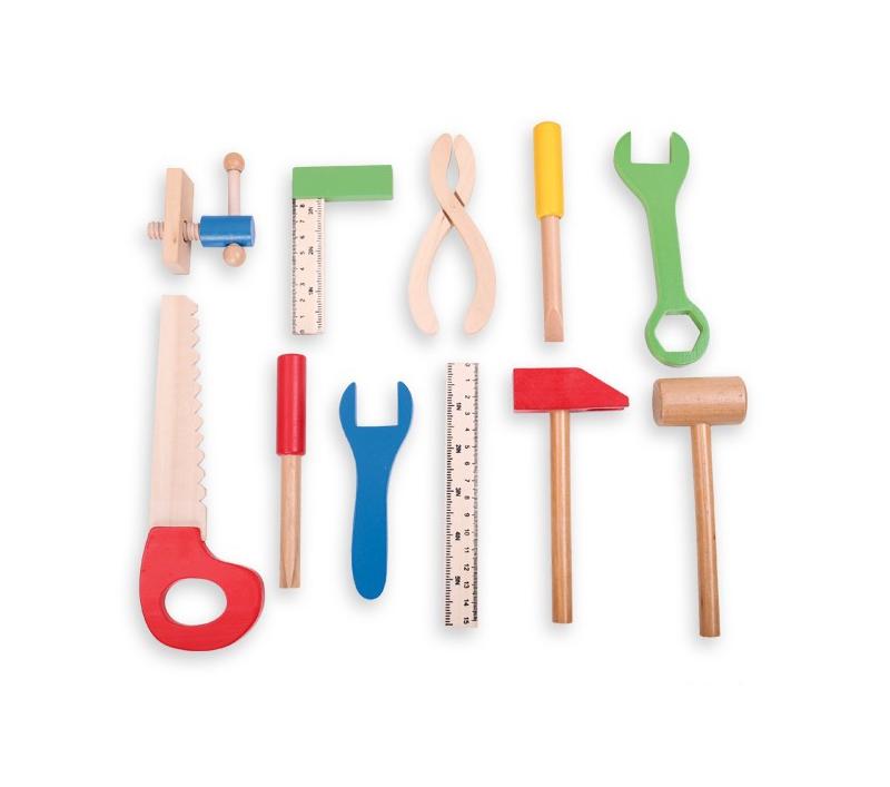 Malet n de herramientas de madera de juguete - Maletin herramientas con ruedas ...
