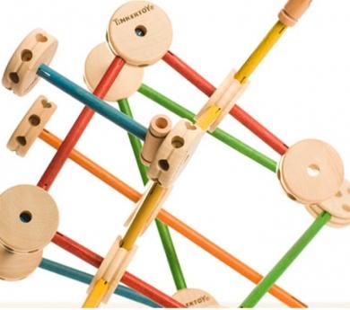 Tinkertoy de madera básico 65 piezas