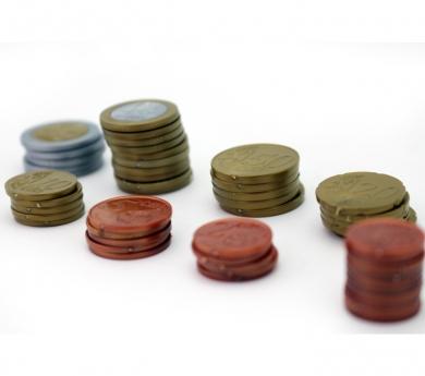 Monedas de euro de juguete