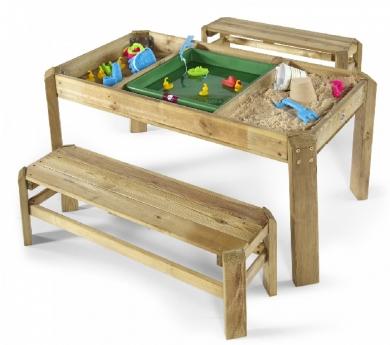 Mesa de experimentación para arena y agua con bancos