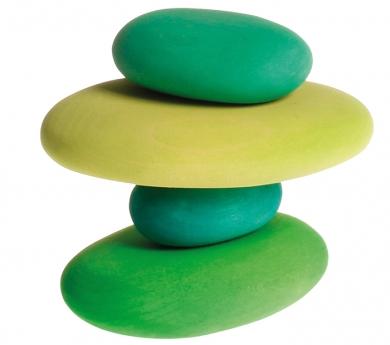 Piedras de madera tonos verdes