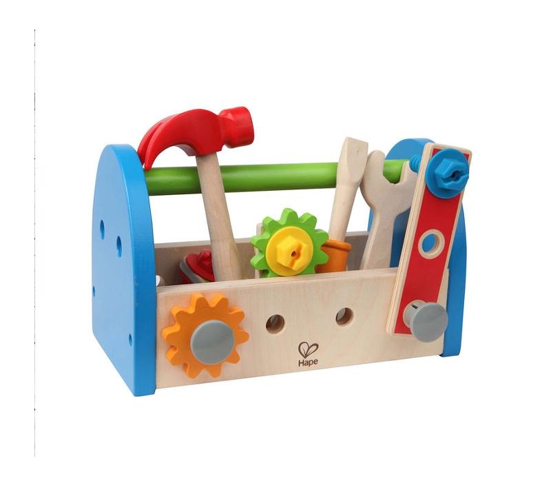 caja de herramientas de juguete de madera
