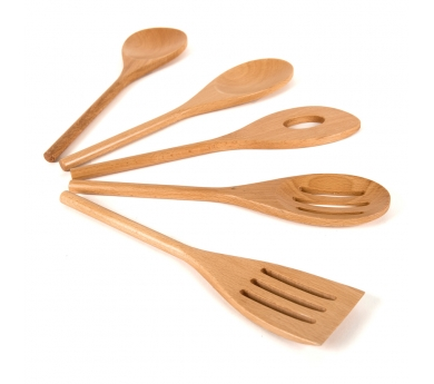 5 culleres i pales de fusta reals