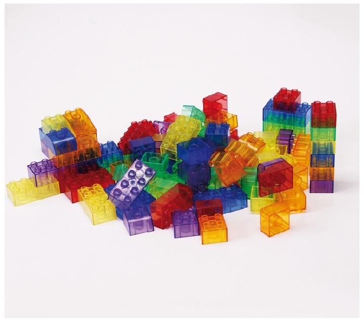 90 piezas de construcción translúcidas tipo lego