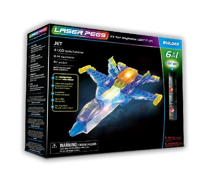 Construcción con luz laser pegs 6 en 1 super jet