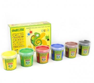 6 botes de pintura de dedos Natural