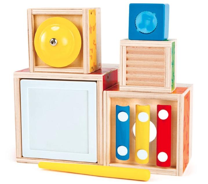 Cubos sonoros apilables y encajables