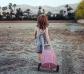 Carro de juego de mimbre rosa