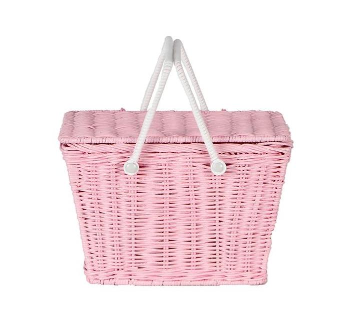 Cistell de vímet rosa amb tapa i nanses