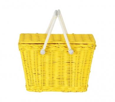 Cesta de mimbre amarillo con tapa y asas