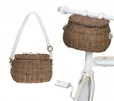Bolso i cistella de vímet natural per a bicicletes