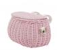 Bolso y cesta de mimbre rosa para bicicleta