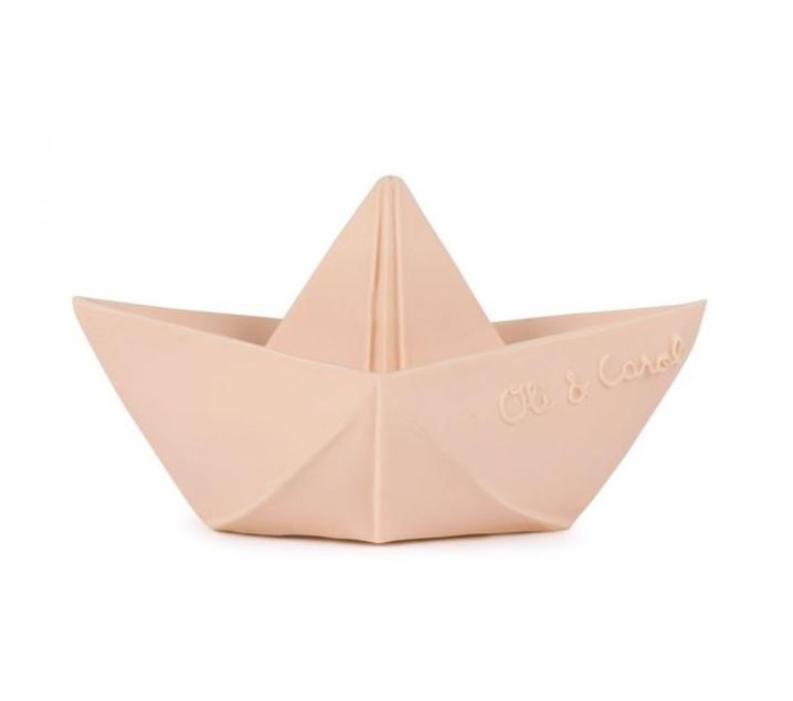Barquito origami de caucho natural rosa