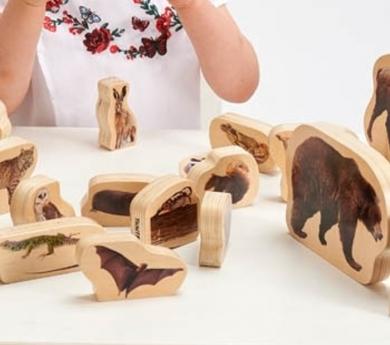 30 animales del bosque de madera