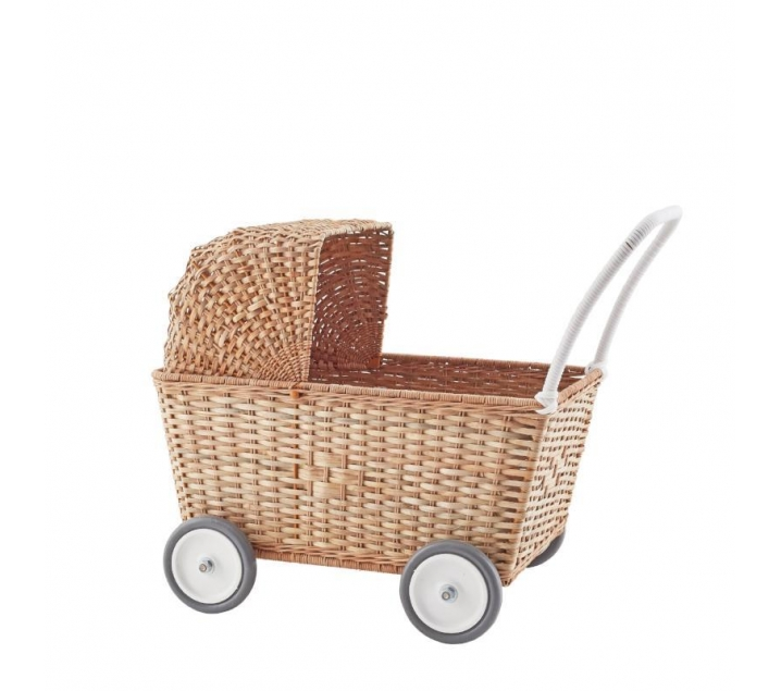 Cotxet de nines de vímet natural amb capota removible