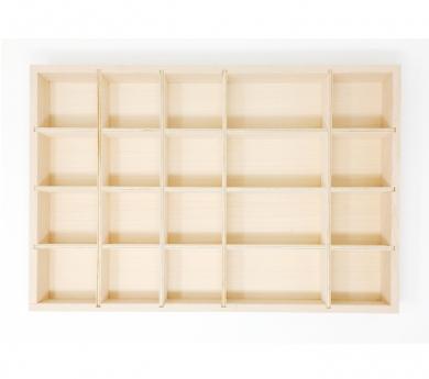 Safata de fusta amb compartiments per les peces soltes