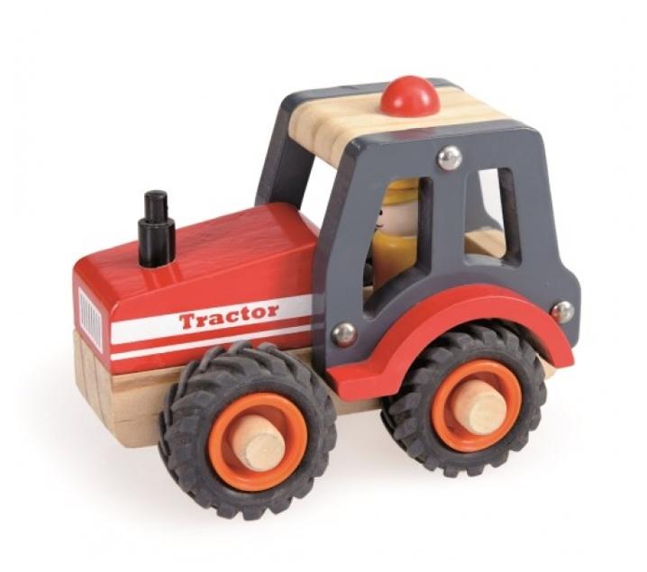 Tractor pequeño de madera con ruedas de goma