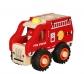 Camión de bomberos pequeño de madera con ruedas de goma