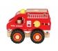 Camió de bombers petit de fusta amb rodes de goma