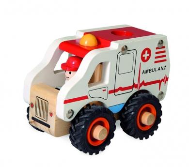 Ambulancia pequeña de madera con ruedas de goma
