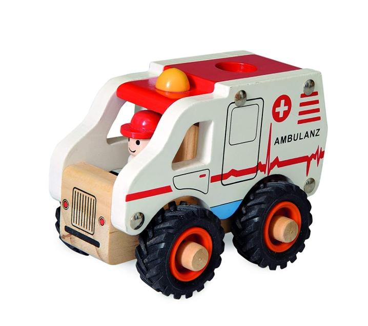 Ambulància petita de fusta amb rodes de goma