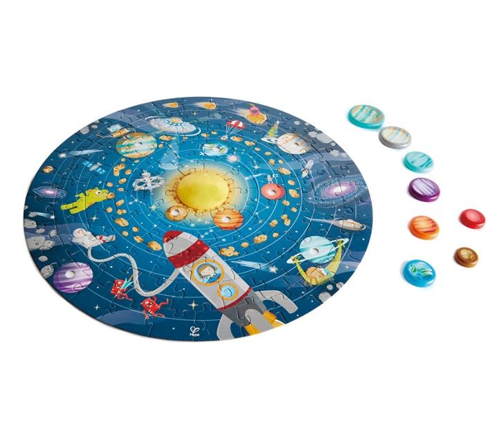 Puzzle circular con luz del sistema solar