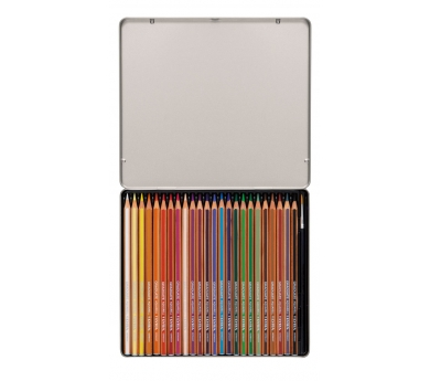 Estuche metálico de 24 lápices acuareables con pincel