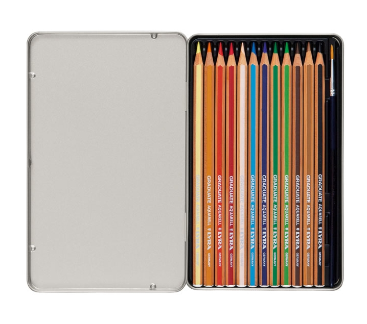 Estuche metálico de 12 lápices acuareables con pincel