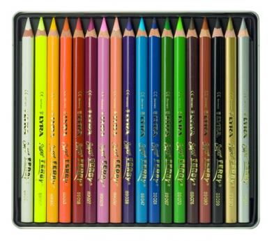 Estoig metàl·lic de 18 llapis gruixuts de colors
