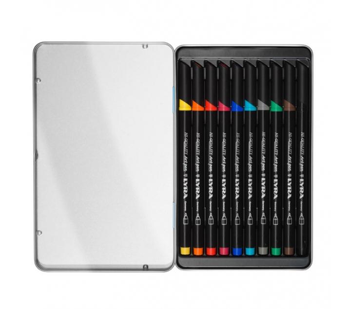 Estuche metálico de 10 rotuladores de colores