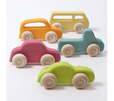 Conjunt de 5 cotxes de fusta prims