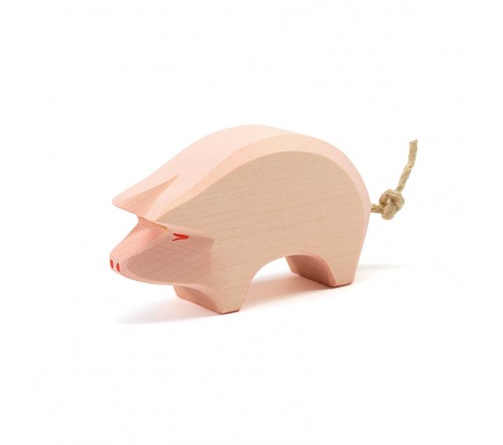 Figura de madera Ostheimer - Cerdo con cabeza agachada