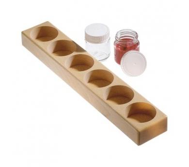 Soporte de madera para tarros de pintura