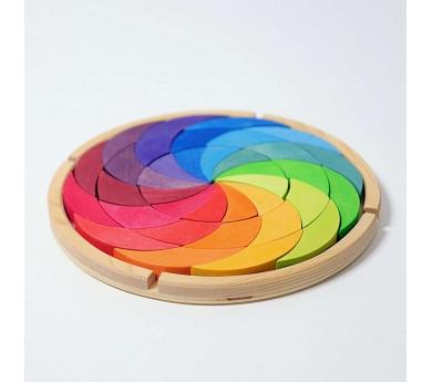 Gran mandala de fusta espiral