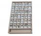 Alfabeto móvil en fichas, mayúscula y minúscula
