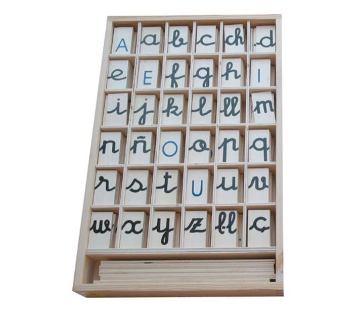 Alfabet mòbil en fitxes, majúscula i minúscula